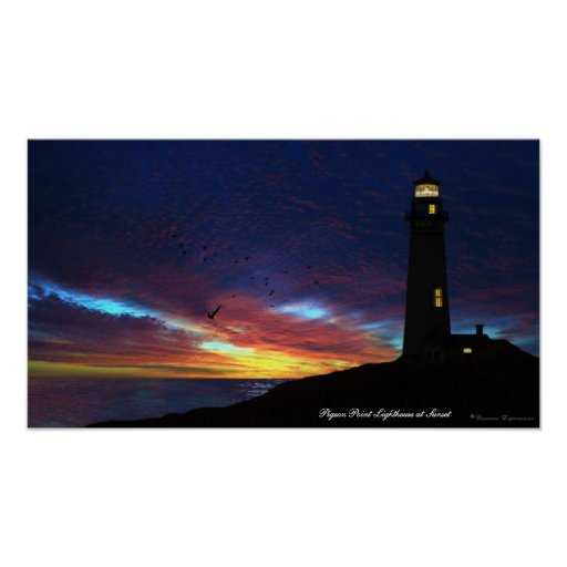 Pigeon Point Lighthouse at Sunset Poster