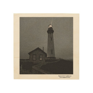 """Pigeon Point Lighthouse on Wood 8X8"""" Wood Wall Decor"""