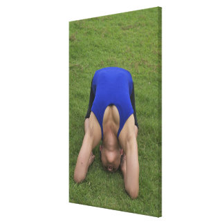 Pigeon pose stretched canvas prints