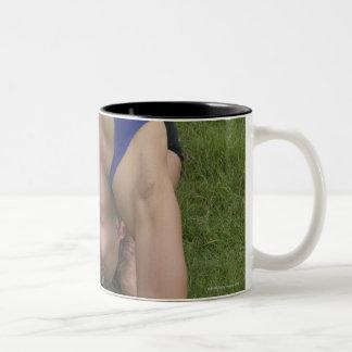 Pigeon pose Two-Tone coffee mug
