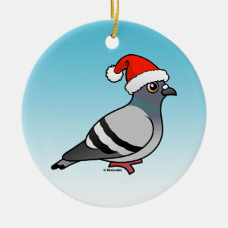 Pigeon Santa Claus Christmas Double-Sided Ceramic Round Christmas Ornament