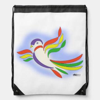 Pigeon Stylized Bird Drawstring Backpack