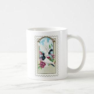 Pigeons and Pansies Vintage Coffee Mug