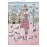 Pigeons Girl in Venice | Greeting Card