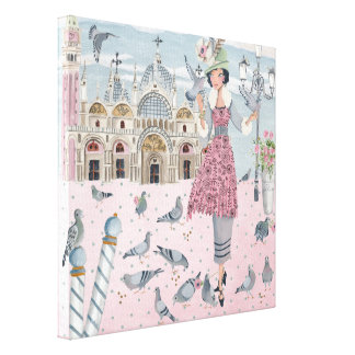 Pigeons in Venice Girl | Canvas