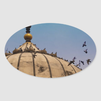 Pigeons on a dome oval sticker