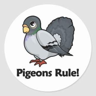 Pigeons Rule! Round Stickers