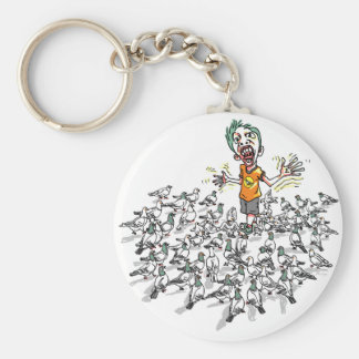 Pigeons scare me by Mudge Studios Basic Round Button Keychain