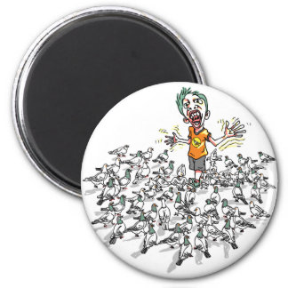 Pigeons scare me by Mudge Studios 2 Inch Round Magnet