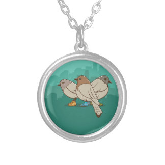 Pigeons With Sneakers Funny Photo Graphic Design Personalized Necklace