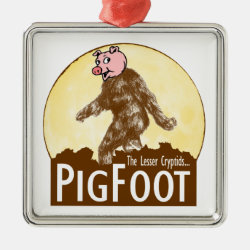 Premium Square Ornament with Funny Bigfoot with Mustache: Stache Squatch design