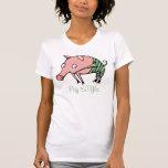 piggie divertido del estilo del cerdo en camiseta