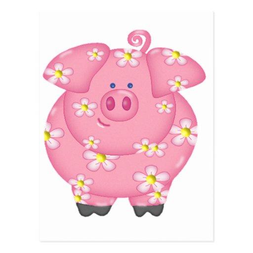 Piggie florido postal
