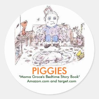 "Piggies-""Mama Groce's Bedtime Story Book"" Classic Round Sticker"