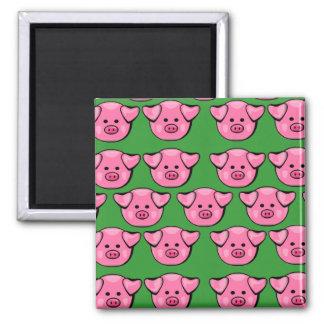 Piggies rosado lindo imán cuadrado