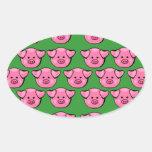 Piggies rosado lindo pegatinas ovaladas personalizadas