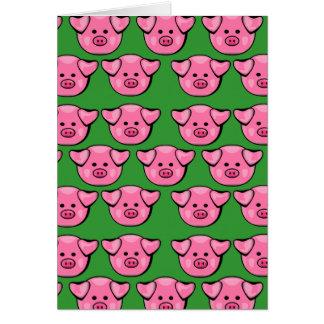 Piggies rosado lindo felicitacion