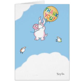 PIGGY ALOFT GREETING CARD