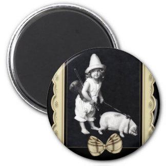 Piggy and I Vintage Photography Fridge Magnet