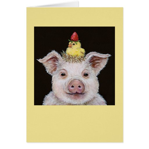 piggy and peep with strawberry card