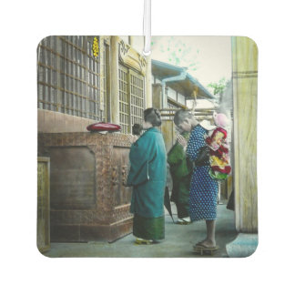 Piggy Backing to Prayer Time at Local Temple Japan Car Air Freshener