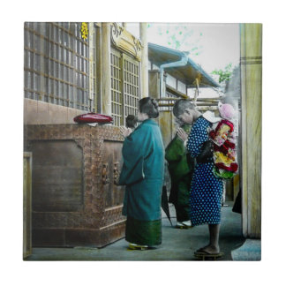 Piggy Backing to Prayer Time at Local Temple Japan Ceramic Tile