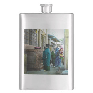 Piggy Backing to Prayer Time at Local Temple Japan Hip Flask