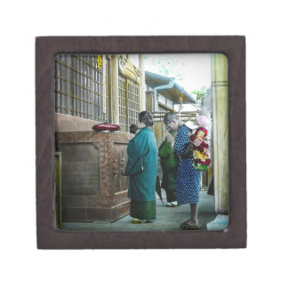 Piggy Backing to Prayer Time at Local Temple Japan Jewelry Box