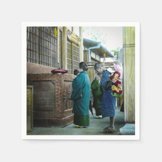 Piggy Backing to Prayer Time at Local Temple Japan Paper Napkin