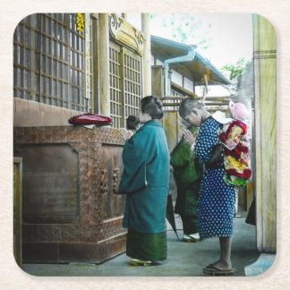 Piggy Backing to Prayer Time at Local Temple Japan Square Paper Coaster
