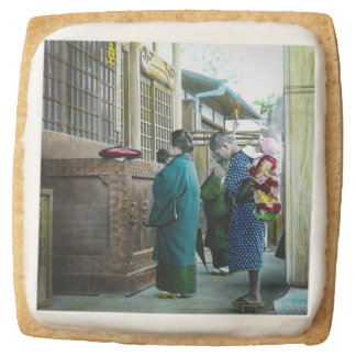 Piggy Backing to Prayer Time at Local Temple Japan Square Shortbread Cookie