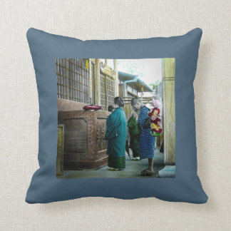 Piggy Backing to Prayer Time at Local Temple Japan Throw Pillow