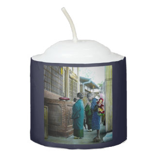 Piggy Backing to Prayer Time at Local Temple Japan Votive Candle