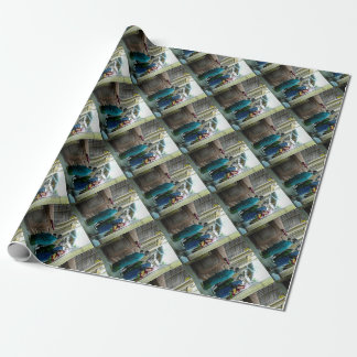 Piggy Backing to Prayer Time at Local Temple Japan Wrapping Paper