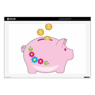 "Piggy Bank 17"" Laptop Skins"