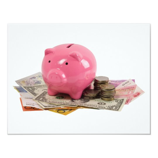 Piggy bank and money card