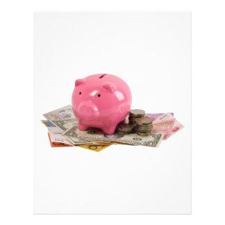 Piggy bank and money flyer design