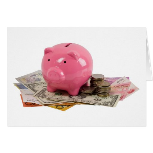 Piggy bank and money greeting card
