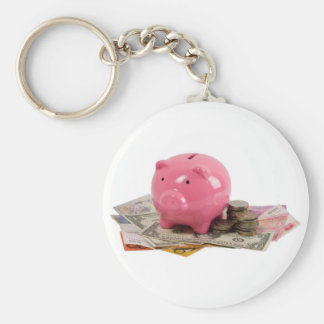 Piggy bank and money keychains