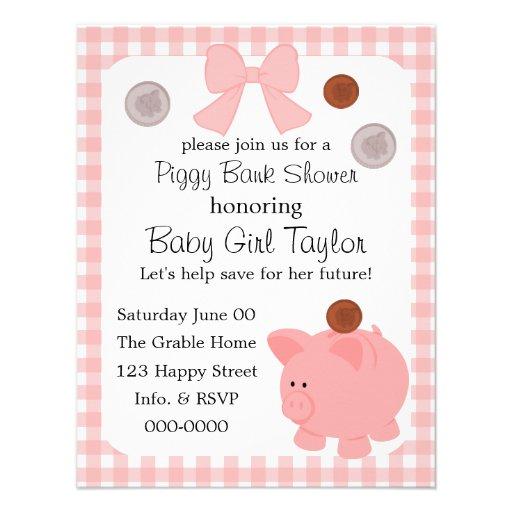 Piggy Bank Baby Shower 4.25x5.5 Paper Invitation Card | Zazzle