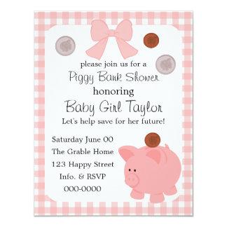 Piggy Bank Baby Shower 4.25x5.5 Paper Invitation Card