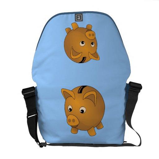 Piggy-bank cartoon messenger bags