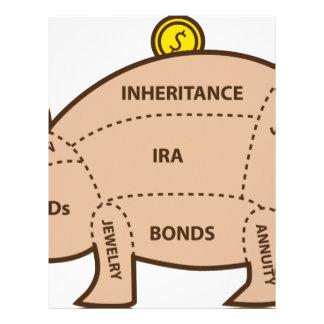 Piggy Bank Chart Icon Letterhead