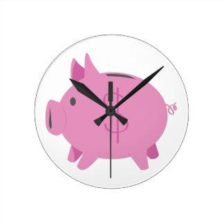 Piggy Bank Round Clocks
