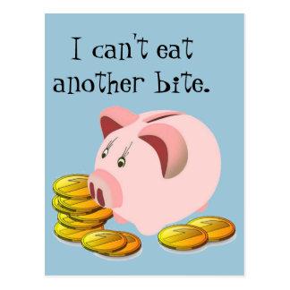 Piggy Bank Coin Slot Top Postcard