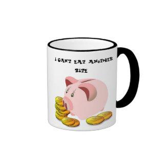 Piggy Bank Coin Slot Top Ringer Coffee Mug
