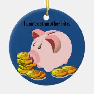 Piggy Bank Coint Slot Top Ceramic Ornament