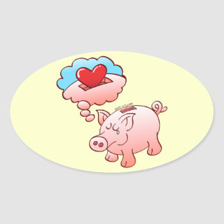 Piggy Bank Daydreaming of Hearts instead of Coins Oval Sticker
