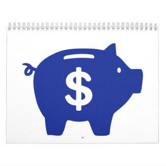 Piggy bank dollar calendar