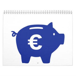 Piggy bank euro calendar